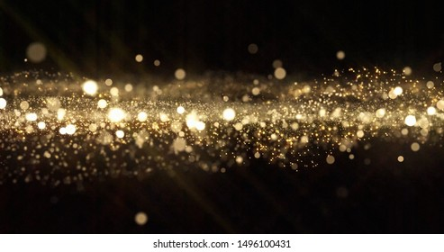 Gold glitter particles, light bokeh wave and golden shimmering sparkles overlay effect. Gold shimmer glow glittering sparkles shine, abstract magic snow bright light blur wave