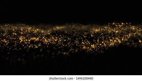 Gold glitter particles shine wave, shining gold sparks and yellow glittery bokeh light background. Gold glow and shimmering sparkles shine, abstract magic bright sparks in wave motion