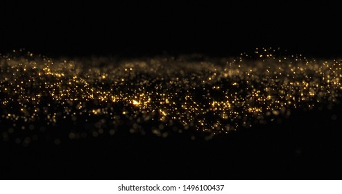 Gold glitter particles wave background, shining gold sparks and yellow glittery bokeh light. Gold glow and shimmering sparkles shine, abstract magic bright sparks in wave motion
