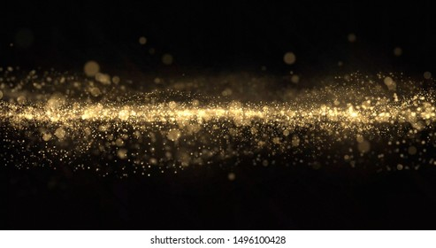 Gold glitter particles wave, light bokeh, golden shimmer sparks. Gold glow and shimmering sparkles shine, abstract magic bright light wave motion background