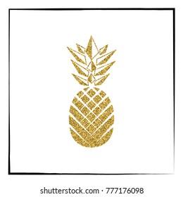 Gold glitter Pineapple pattern. Summer fruit trendy illustration. Pineapple isolated on white background. Poster design.