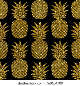 Gold glitter pineapples on black background. Hand drawn seamless pattern. Jpg image. Perfect for fabric, wallpaper or giftwrap.