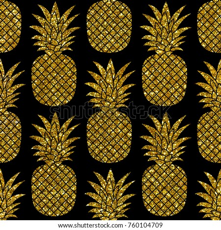 Gold Glitter Pineapples On Black Background Hand Drawn Seamless Pattern Jpg Image Perfect