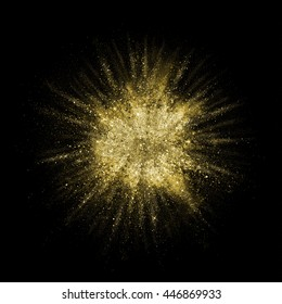 Gold glitter powder explosion. Golden color dust splash. Particles burst with golden texture for fashion background, luxury wallpaper. Magic mist glowing. Powdered vivid gold on black background.