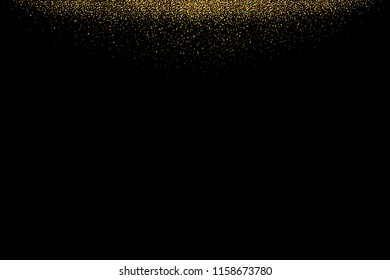 Gold glitter rain isolated on black background. Festive overlay texture for congratulation. Golden confetti explosion, illustration
