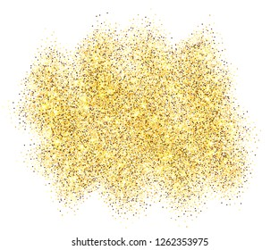 Gold glitter sand frame isolated on white background. Golden texture confetti, sequins, dust spray. Bright pattern design for New Year decoration, Christmas holiday celebration illustration