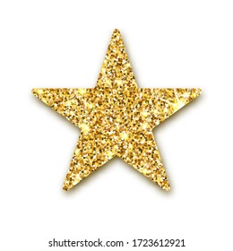 Gold glitter star. Golden sparcle. Amber particles. Luxury design element.