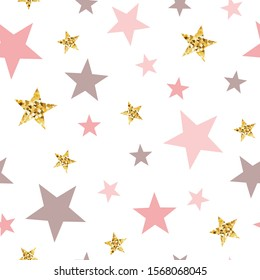 Gold glitter stars seamless pattern Abstract ornament in light pink colors golden bright stars illustration for baby shower template wallpaper Golden elements sparkles shining white background.