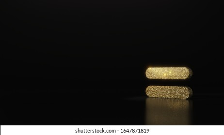 gold glitter symbol of equal sign bold 3D rendering on dark black background with blurred reflection with sparkles