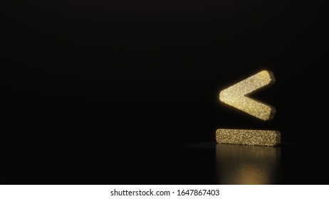 gold glitter symbol of less than equal mark 3D rendering on dark black background with blurred reflection with sparkles