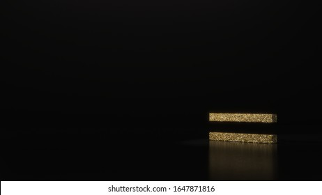 gold glitter symbol of thin equal sign 3D rendering on dark black background with blurred reflection with sparkles