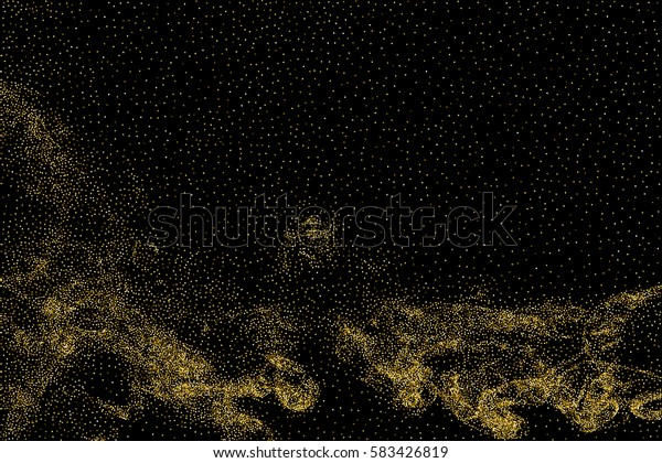 Gold glitter texture isolated on black. Amber particles color. Celebratory background. Golden explosion of confetti. Raster and bitmap copy version.