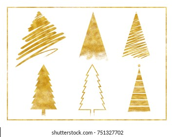 gold glitter twinkle background luxury texture on holiday vintage merry christmas season greeting tree decoration set collection, brush stroke, paint draw art, celebration festival, happy new year