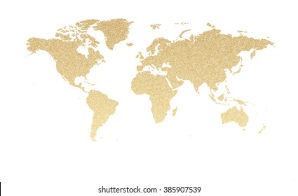 Gold glitter world map.