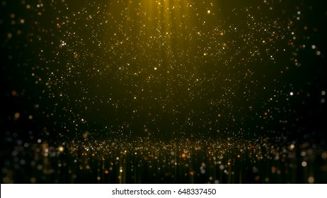 Gold Glittering Bokeh Glamour Abstract Background.