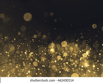 Gold Glittering Bokeh Glamour Background.