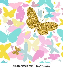 Gold glittering butterflies and colorful butterflies silhouettes seamless pattern on white background. illustration.