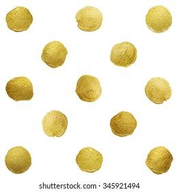 Gold glittering polka dot pattern on white background.