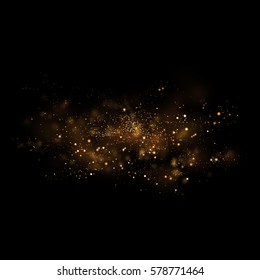 Gold glittering star light and bokeh.Magic dust abstract background element for your product.