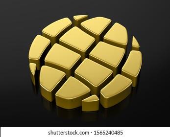 Gold globe symbol on a black background. 3d illustration.