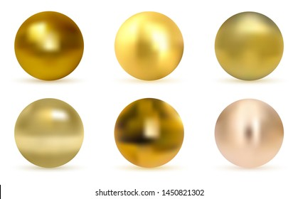 Gold glossy sphere set isolated on white. Golden ball. Realistic gold sphere. Set of pearls isolated on white background