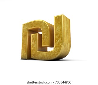 Gold Golden Ils Nis Shekel 3D Render Sign Symbol Mark Isolated