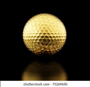 gold golf ball on black background