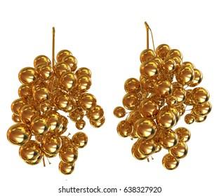 Gold Grapes. 3d illustration
