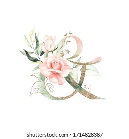 Gold Green Floral Alphabet - & ampersand with peach pink white gold green botanic flower branch bouquet composition. Unique collection for wedding invites decoration, birthdays & other concept ideas.