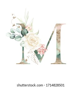 Gold Green Floral Alphabet - letter M with peach pink white gold green botanic flower branch bouquet composition. Unique collection for wedding invites decoration, birthdays & other concept ideas.