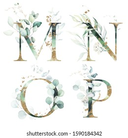 Gold Green Floral Alphabet Set - letters M, N, O, P with green leaves, botanic branch bouquet composition. Unique collection for wedding invites decoration and many other concept ideas.