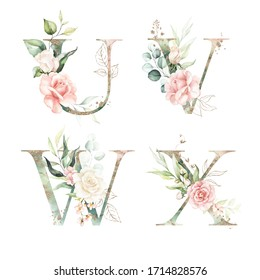 Gold Green Floral Alphabet Set Collection - letters U, V, W, X with peach pink white gold botanic flower branch bouquets composition. Wedding invitations, baby shower, birthday, other concept ideas.