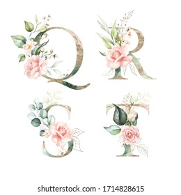 Gold Green Floral Alphabet Set Collection - letters Q, R, S, T with peach pink white gold botanic flower branch bouquets composition. Wedding invitations, baby shower, birthday, other concept ideas.