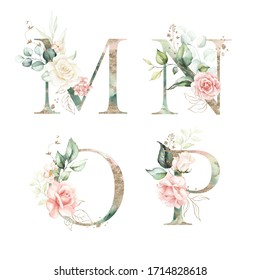 Gold Green Floral Alphabet Set Collection - letters M, N, O, P with peach pink white gold botanic flower branch bouquets composition. Wedding invitations, baby shower, birthday, other concept ideas.