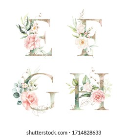 Gold Green Floral Alphabet Set Collection - letters E, F, G, H with peach pink white gold botanic flower branch bouquets composition. Wedding invitations, baby shower, birthday, other concept ideas.