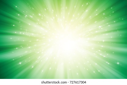 Gold and Green glitter sparkles rays lights bokeh Festive Elegant abstract background.