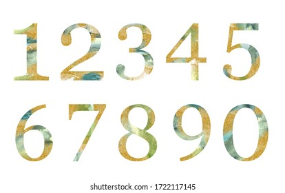 Gold and green  number set - digits 1, 2, 3, 4, 5, 6, 7, 8, 9, 0 . Unique collection for wedding invites decoration .