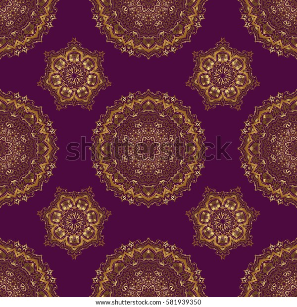 Gold grid on a purple background. Seamless pattern with golden elements.