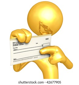 Gold Guy With Blank Check