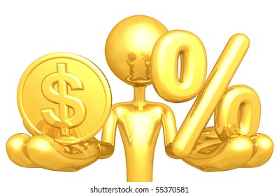 Gold Guy With Gold Coin And Percentage Symbol