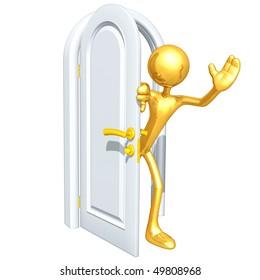 Gold Guy With Door