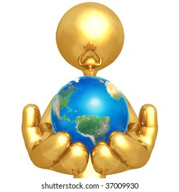 Gold Guy Holding The Earth