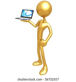Gold Guy With Netbook Computer