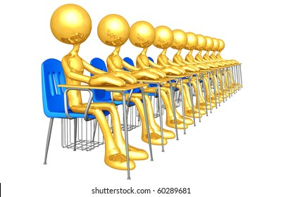 Gold Guy Students In A Classroom Sitting At Desks
