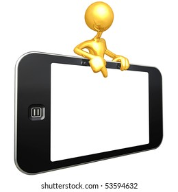 Gold Guy With Touch Screen Mobile Device