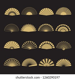 Gold hand fan icons. Hand fan isolated on black background