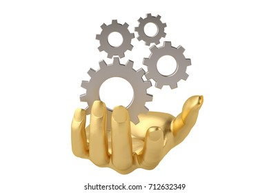 Gold hand and gear,3D illustration.