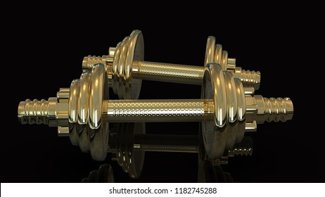 Gold Hand Weights 3D rendering