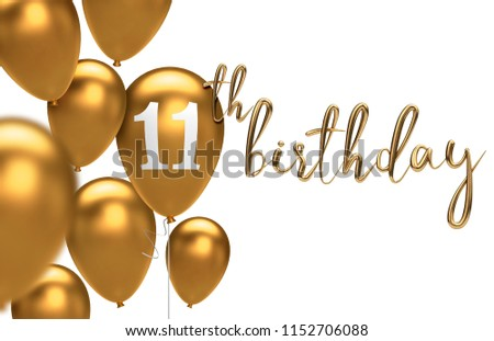 Gold Happy 11th Birthday Balloon Greeting Background 3D Rendering