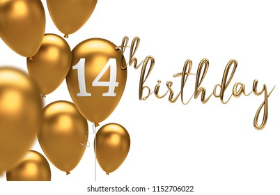 Gold Happy 14th birthday balloon greeting background. 3D Rendering